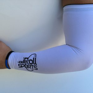 White compression sleeve with Black Logo