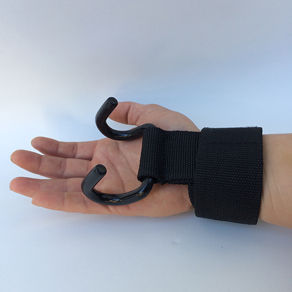 Adaptive quadriplegic hand hook for curling dumbbells
